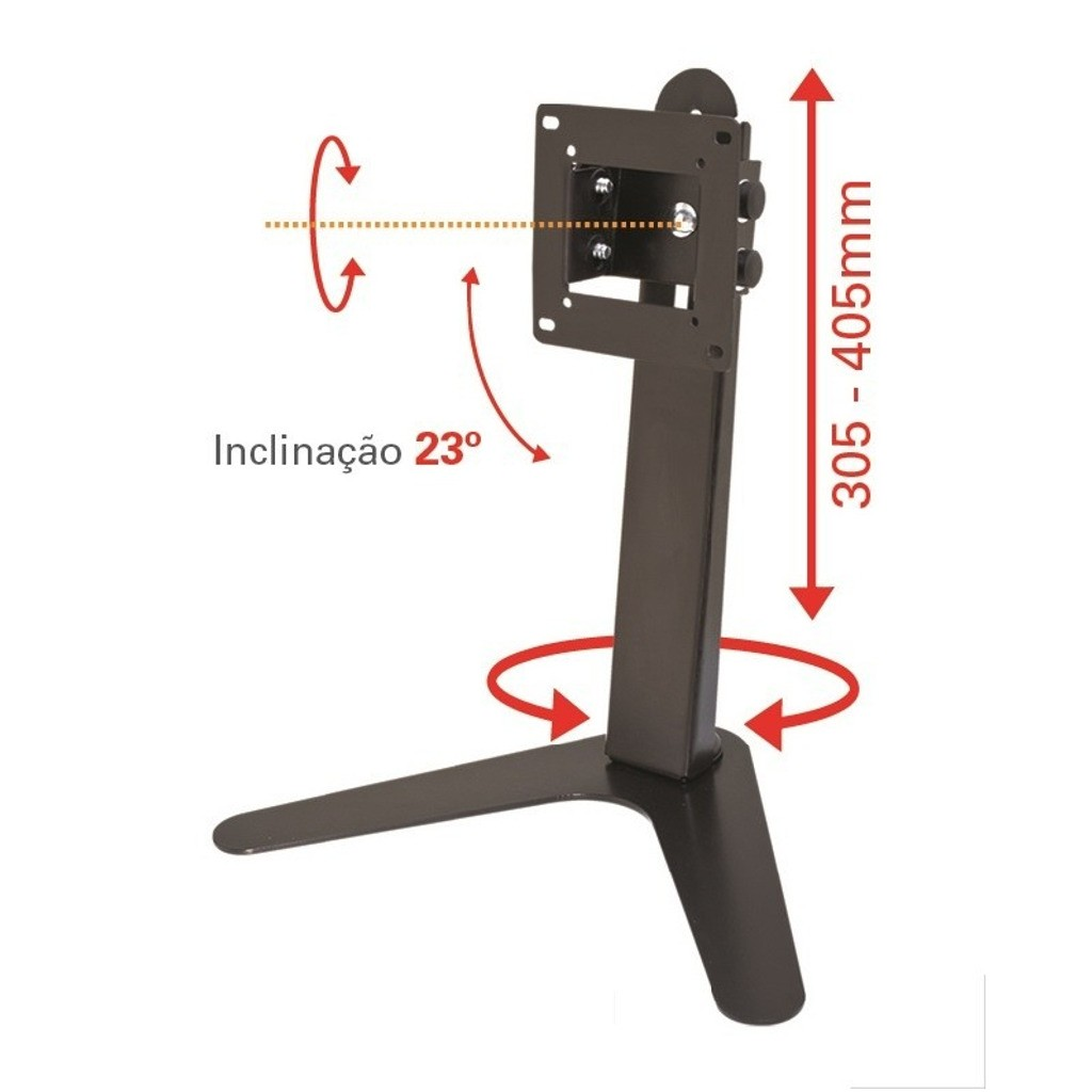 Suporte de Mesa/Pedestal Ergonômico NR17 p/ Monitor LED/LCD/3D de 10