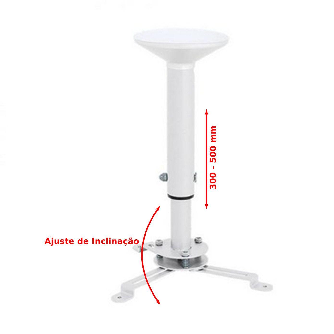 Suporte de Teto para Projetor Universal Giro 360º Iclinação Até 15º 30 - 50 cm - Multivisao