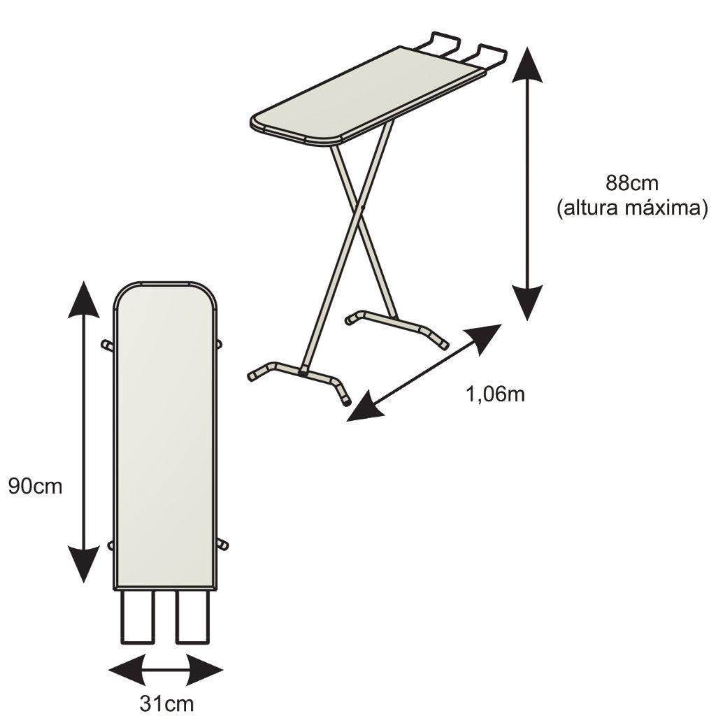 Tábua/Mesa de Passar Roupas Facile Metalizada 31cm Largura Suporte p/ Ferro e Regulagem de Altura - Elite Aço