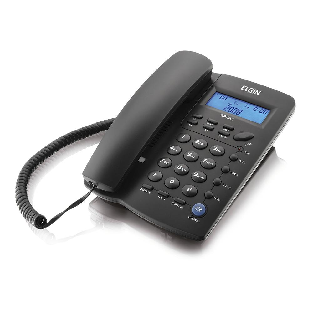 Telefone c/ Fio Elgin TCF 3000 Identificador de Chamadas Viva Voz