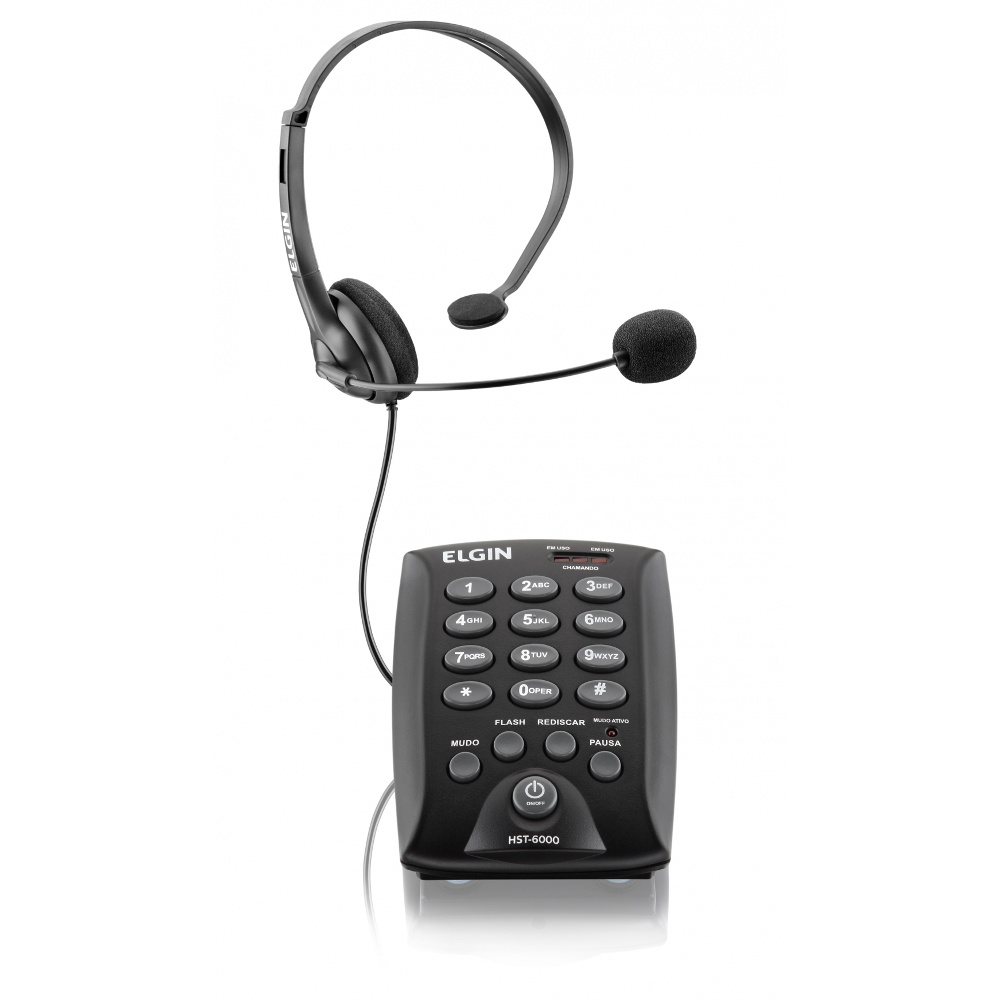 Telefone Headset Elgin HST 6000 c/ Teclado p/ Telefonista Call Center Telemarketing
