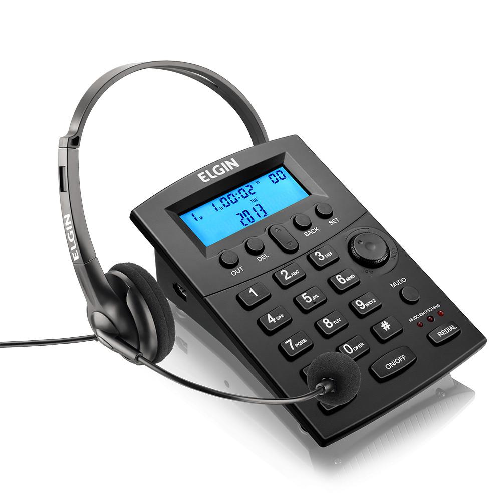 Telefone Headset Elgin HST 8000 c/ Teclado e Identificador de Chamadas p/ Telefonista Call Center Telemarketing