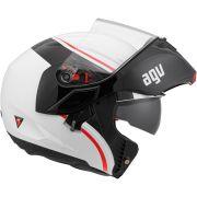 Capacete AGV Compact Course Branco Vermelho com Viseira Solar