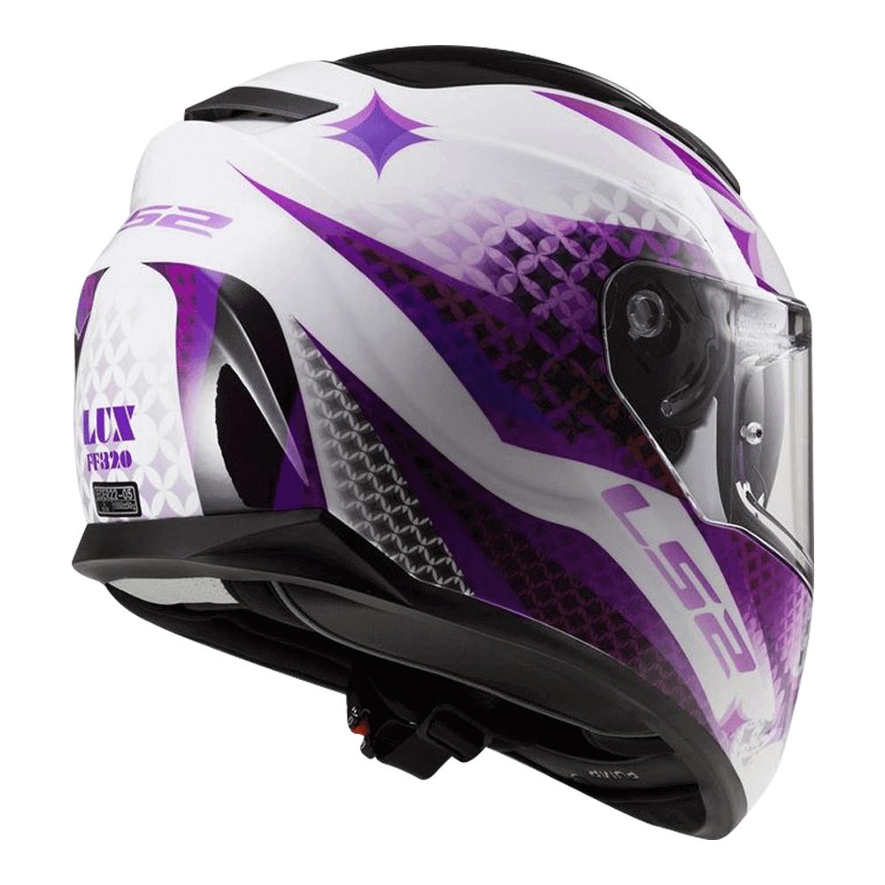 Capacete LS2 FF320 STream Lux com Viseira Solar White / Purple / Pink