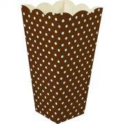 Caixa Pipoca -8 Unid - Marrom e branco