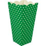 Caixa Pipoca -8 Unid - Verde escuro e branco