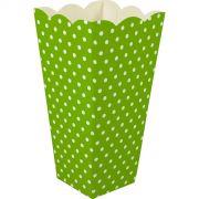 Caixa Pipoca -8 Unid - Verde pistache e branco