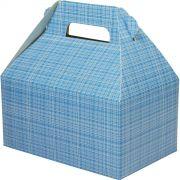 Caixa Surpresa M - 8 Unid - Azul Medio Xadrez