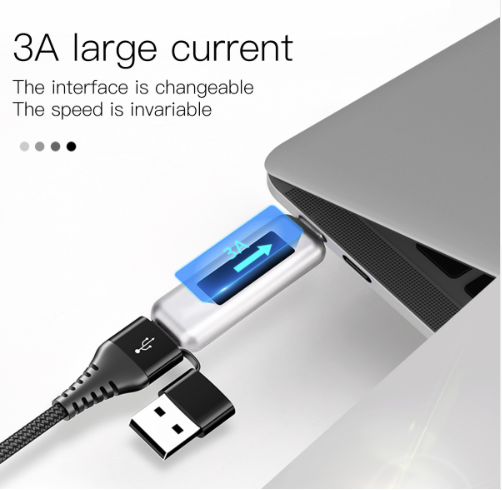 Cabo 3 in 1 Baseus (1 Lightning, 1 USB e 1 Tipo C) Reforçado