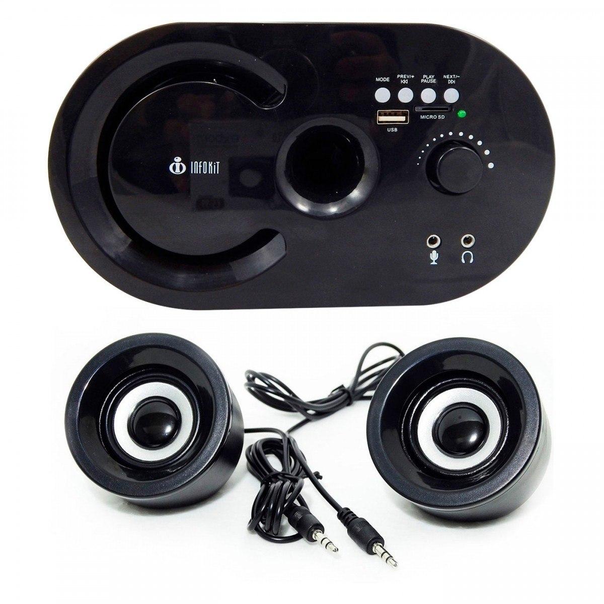 Caixa De Som 2.1 Bluetooth Radio Fm Rca Pc Notebook Tv Usb Infokit