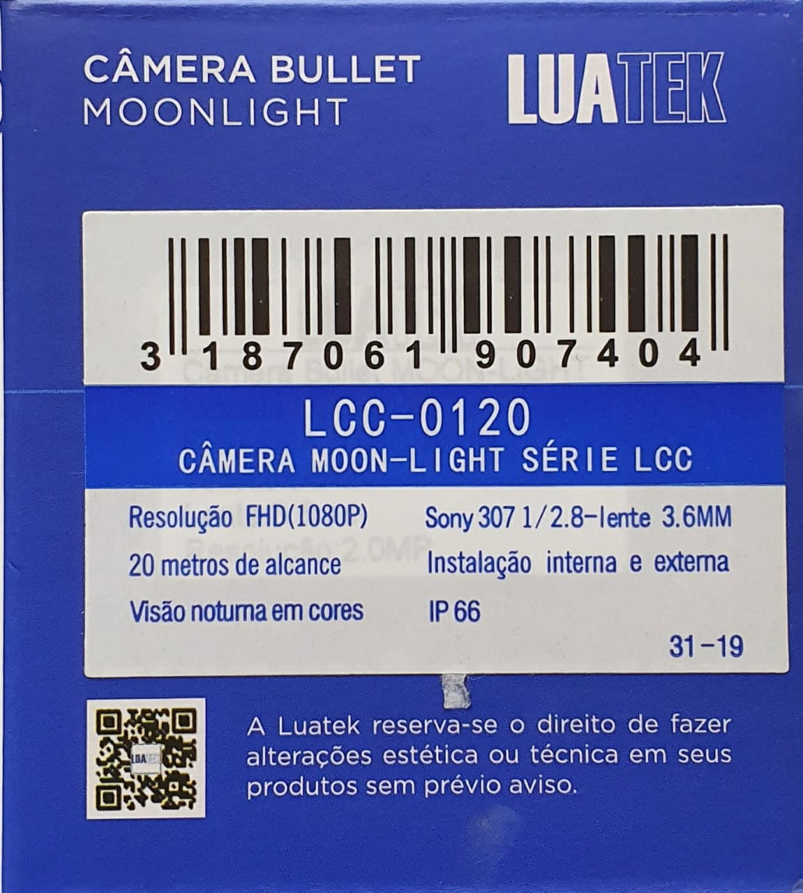 Câmera visão Noturna colorida Full Hd 1080p Luatek