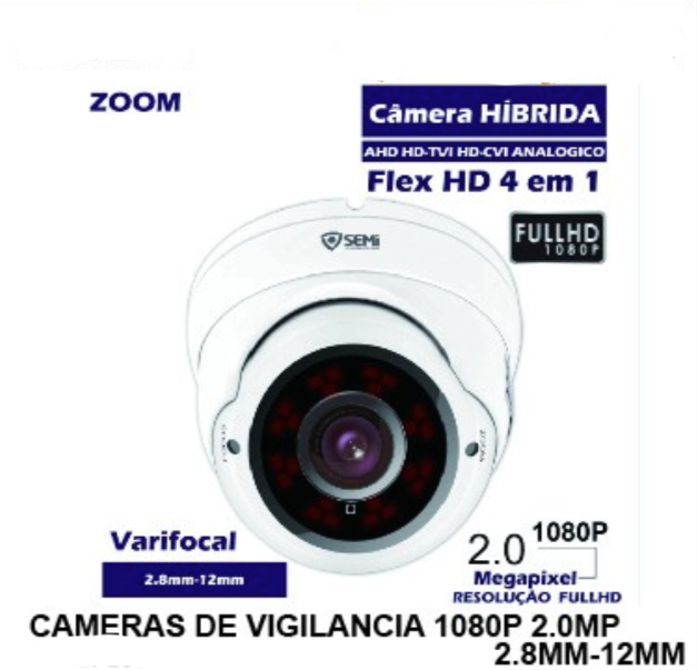 Câmera Varifocal Flex Hd 4em1 Full Hd 1080p SEMI