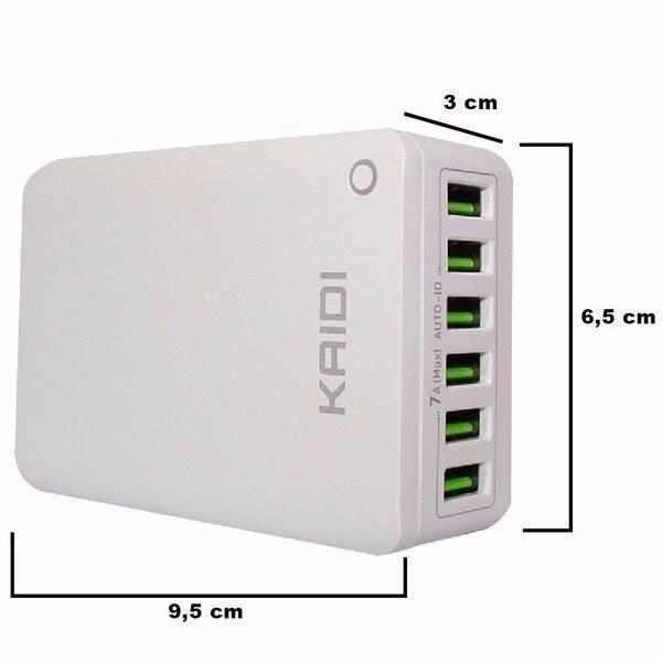 Carregador Para Celular Usb De Parede Hub 6 Portas Kaidi