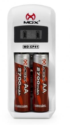 Carregador Pilhas Baterias Mox Visor Lcd MO-CP41