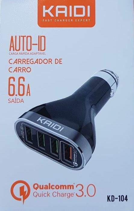 Carregador Veicular Kaidi Kd-104 Qualcoom 3.0 6.6a