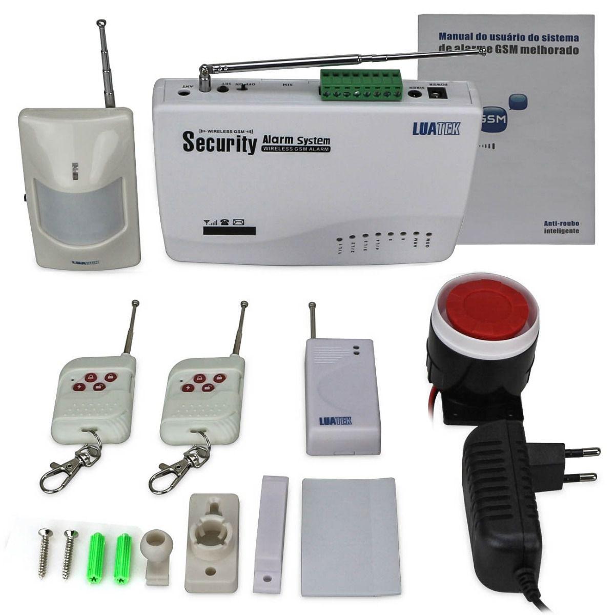 Kit De Alarme Residencial Gsm Sistema Wireless Sms Luatek