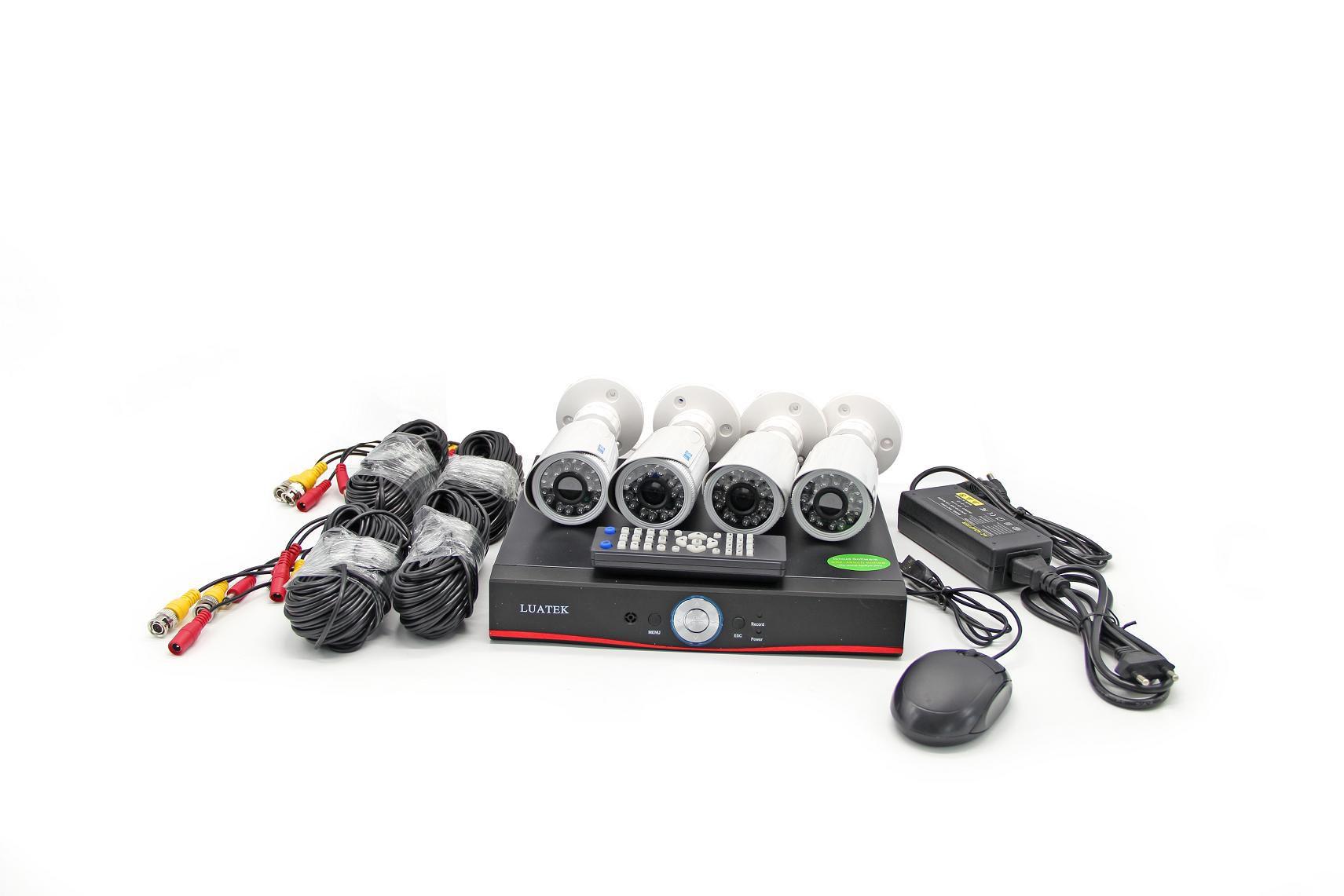 Kit De Câmera com 4 Cameras Full-HD Cabos e fonte LKK124 Luatek
