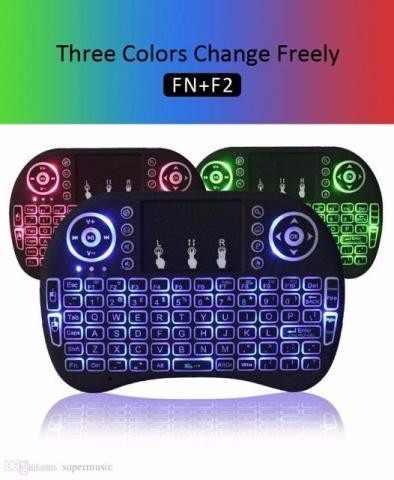 Mini Teclado Wireless Touch Pad com luz Colorido