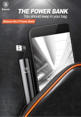 Power Bank Baseus Dual Output Micro USB e Lightning 2000mAh