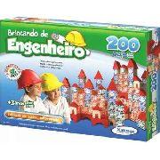 Brinquedo Pedagógico Madeira Brincando Engenheiro 200 Peças
