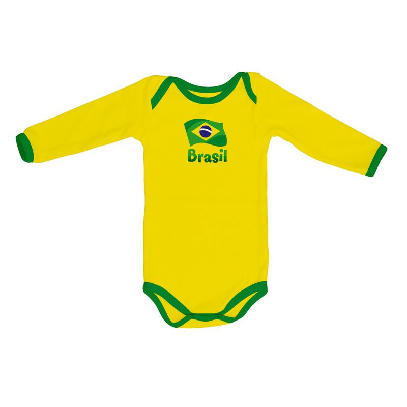 d2b222c738 Uniforme da Seleção - Body Longo BRASIL - Copa do Mundo - Torcida ...