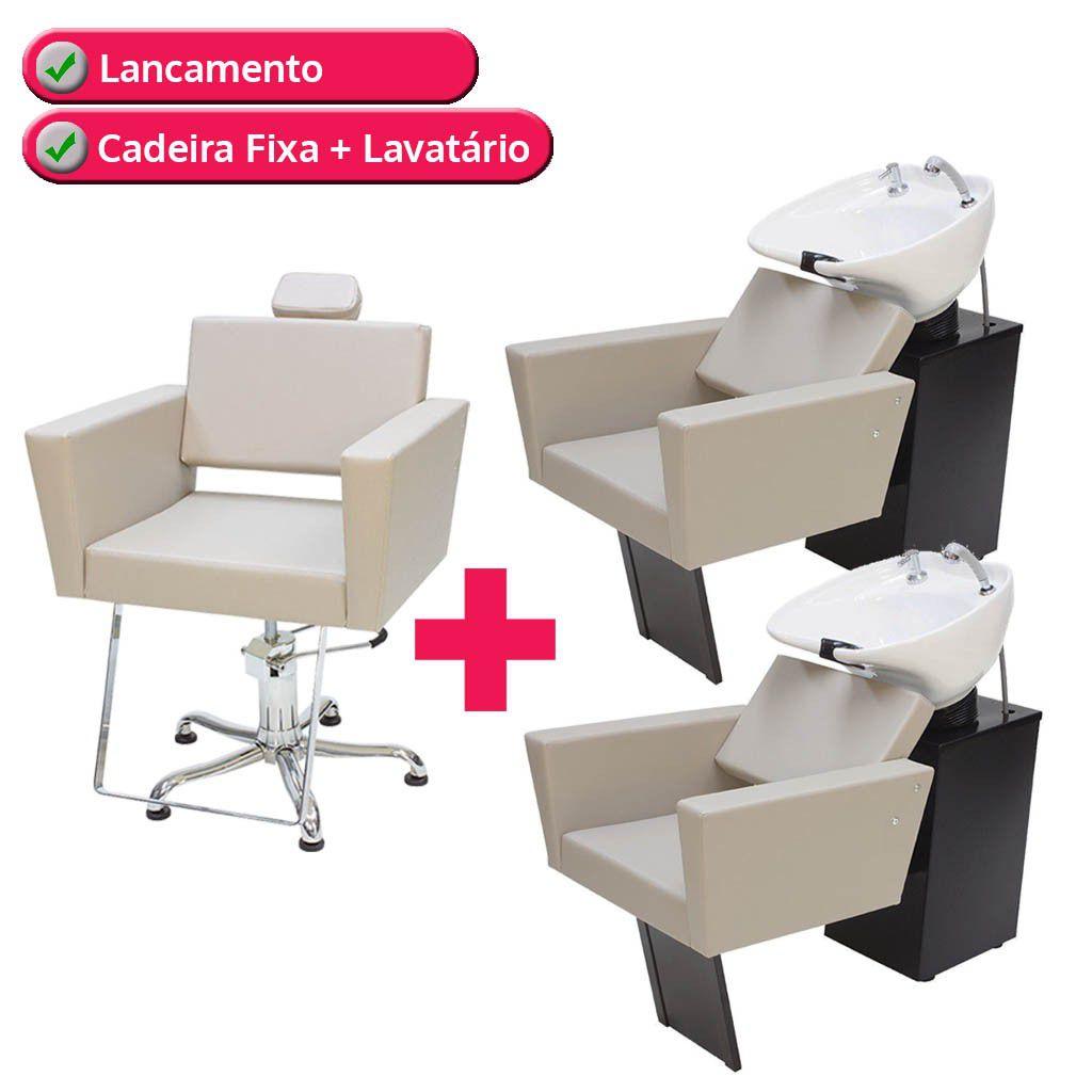 1 Poltrona Cadeira Kixiki Niagara Fixa Para Cabeleireiro + 2 Lavatório Flex Niágara