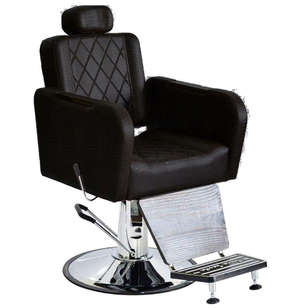 Cadeira Caravaggio Barbearia Reclinável Terra Santa Preta + Lavatório Evidence Porcelana