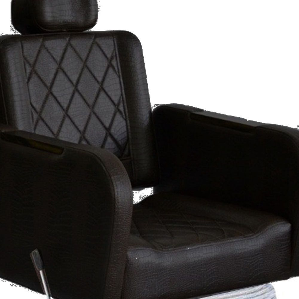Cadeira CARAVAGGIO Barbearia Reclinável Terra Santa Preto Croco