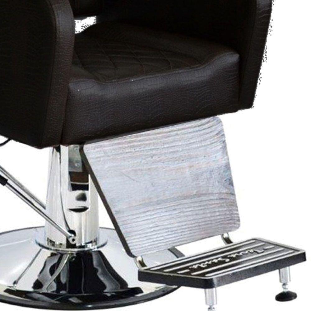 Poltrona Cadeira Caravaggio Hidráulica para Salão Preto Croco