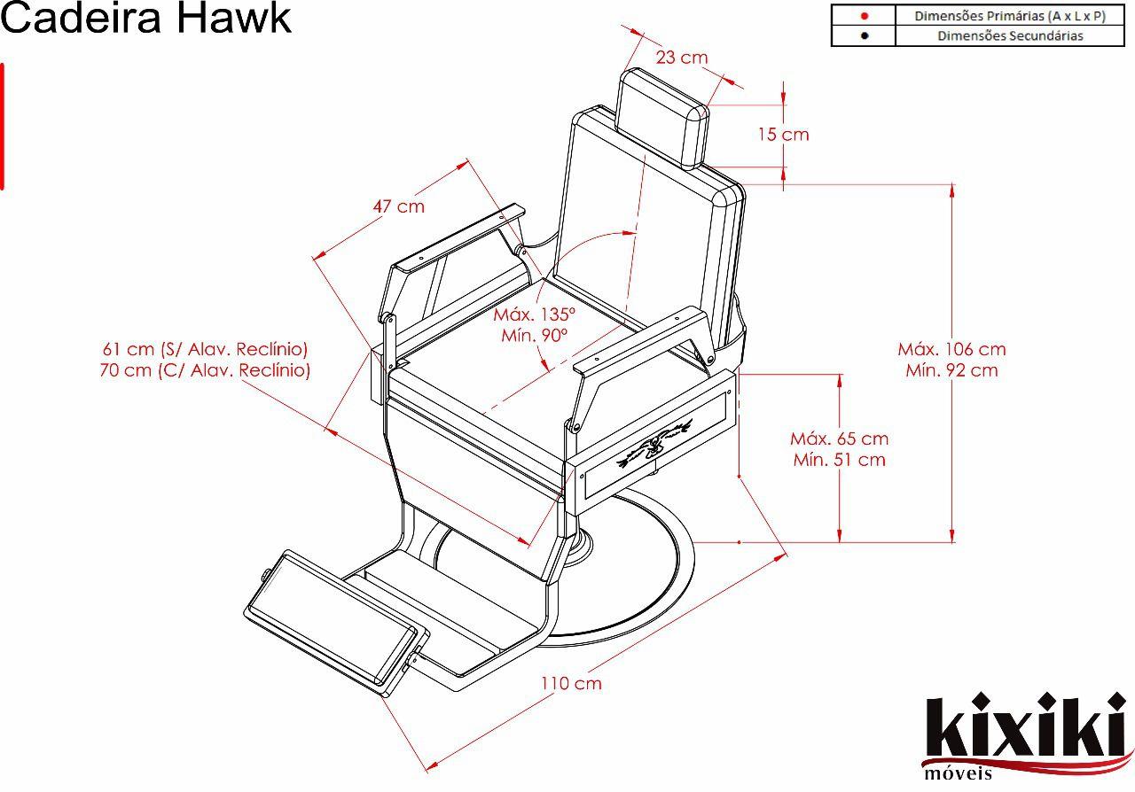 Cadeira De Barbeiro Hawk Reclinável Capitonê - Kixiki