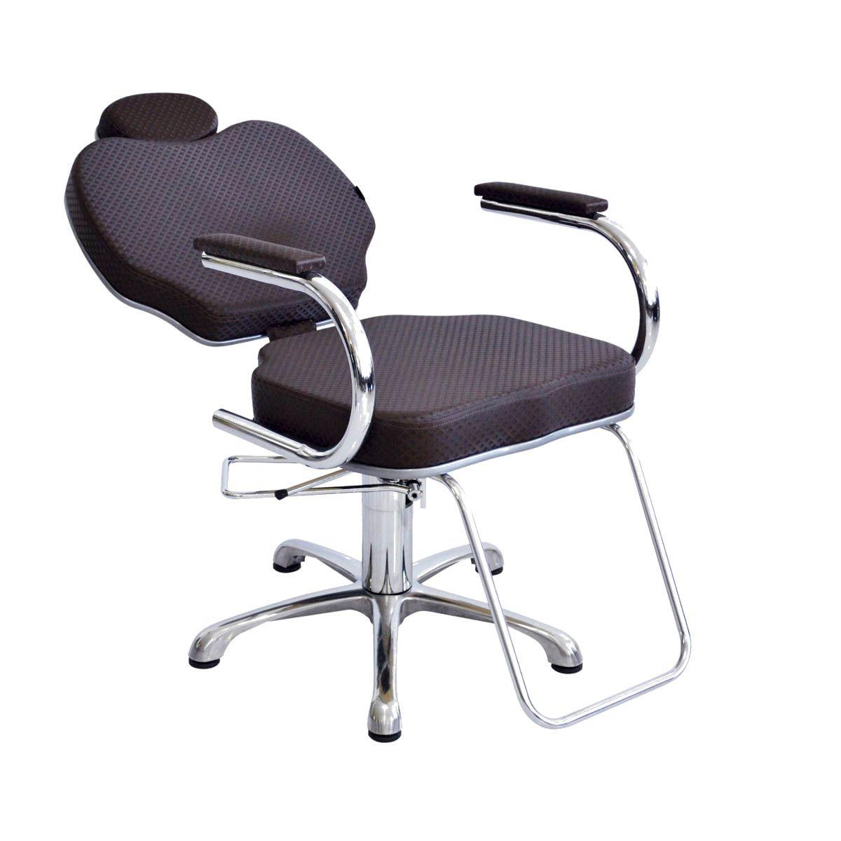 Cadeira Hidráulica Gobbi  Marrom + Lavatório Chic Cabeleireiro Marrom/Branco