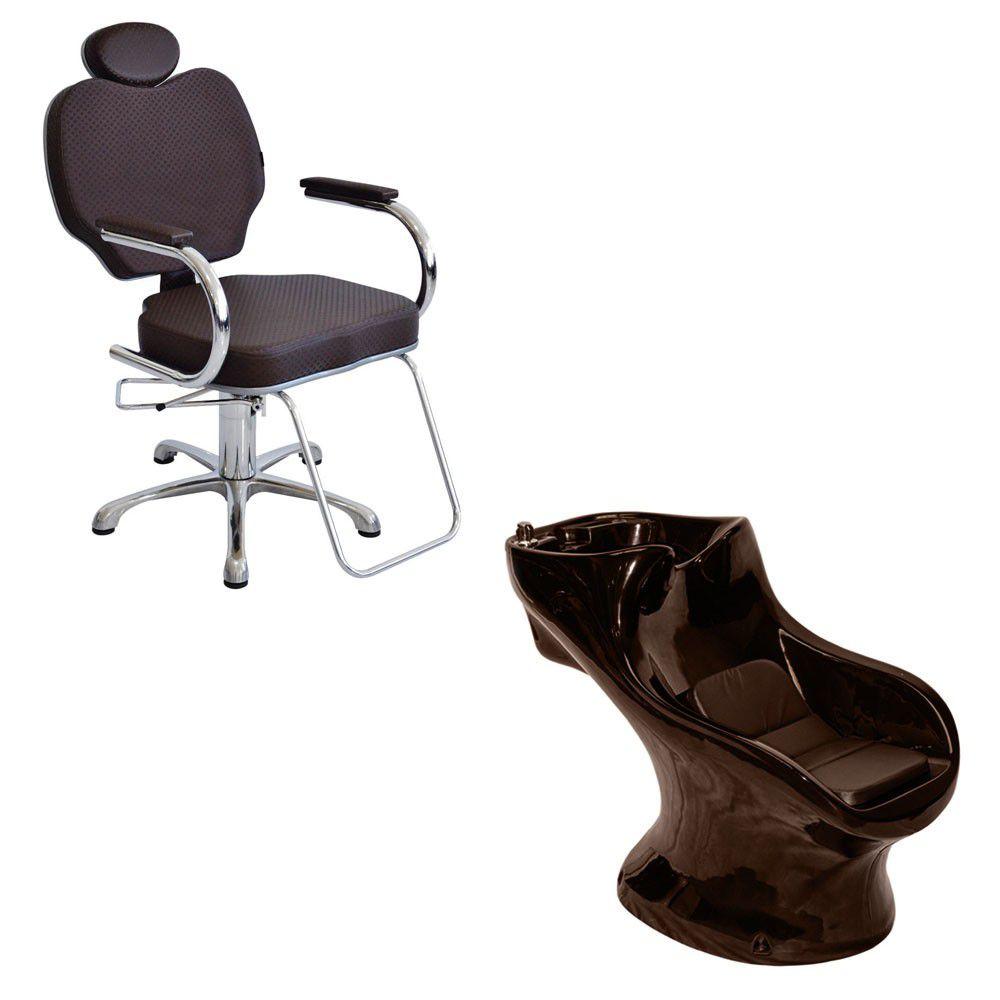 Cadeira Poltrona Gobbi Marrom Terra Santa + Lavatório Star Italiano Bullon