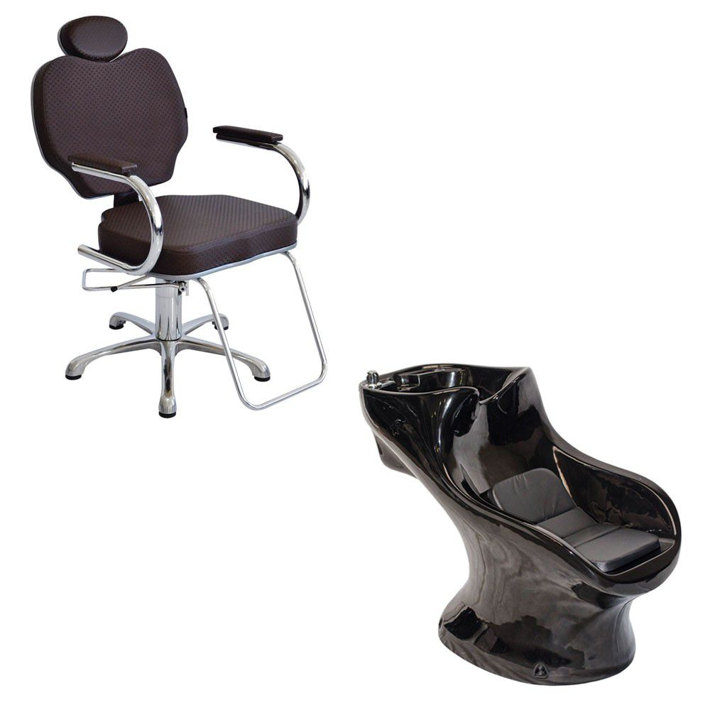 Cadeira Poltrona Gobbi Preta Terra Santa + Lavatório Star Italiano Bullon