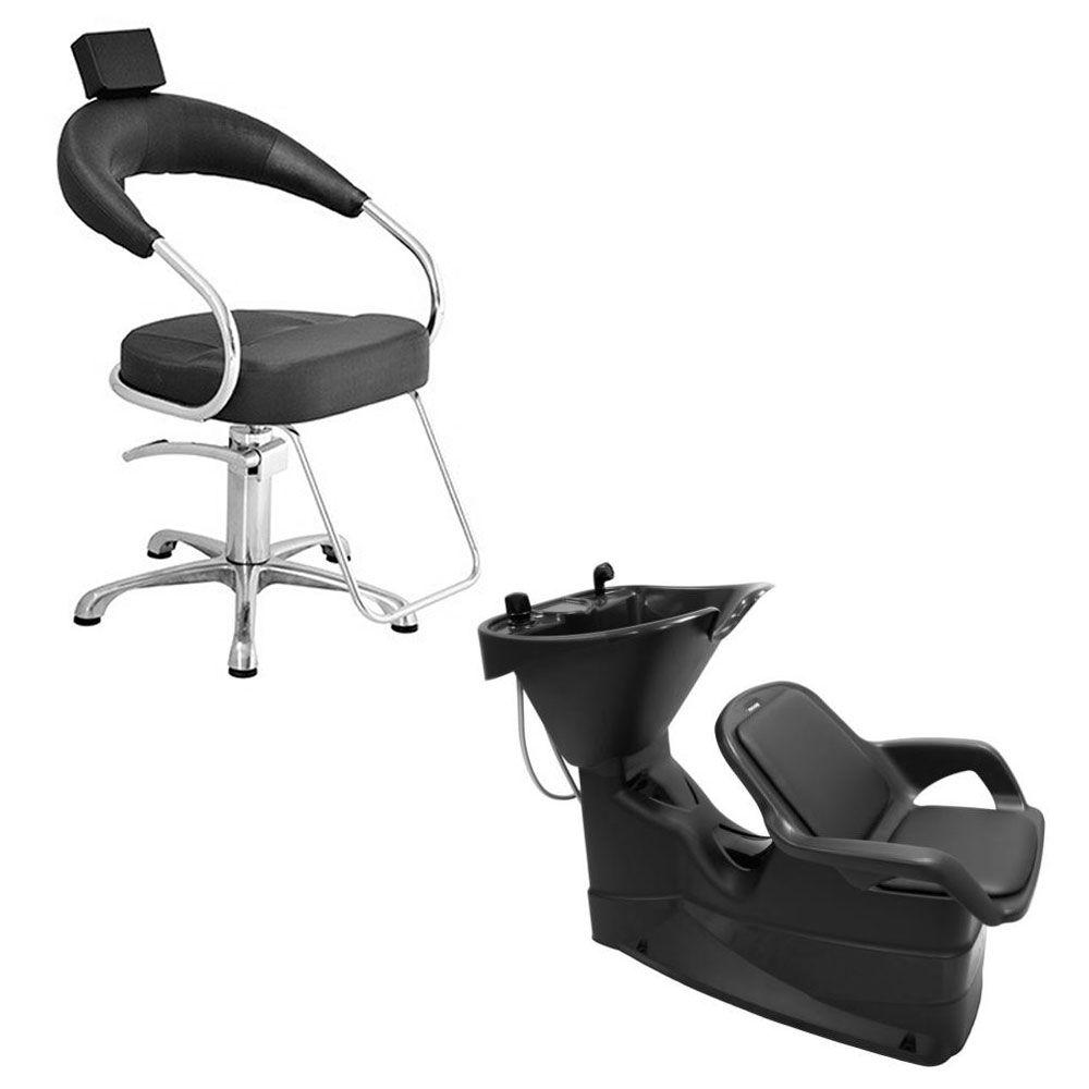 Cadeira Poltrona Hidráulica Futurama (Base Alumínio Escovado) + Lavatório Champ Fixo Dompel