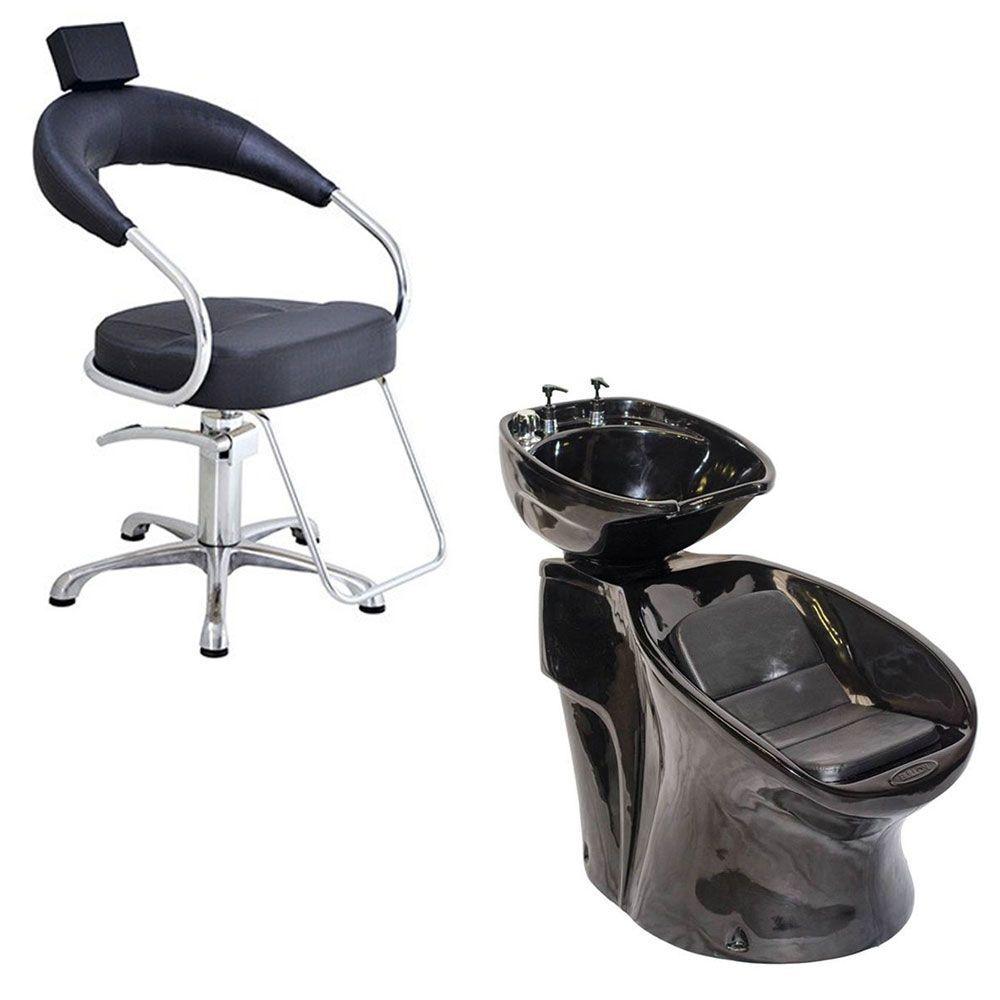 Cadeira Poltrona Hidraulica Futurama (Base Aluminio Escovado) + Lavatório Neon Shampoo Bullon