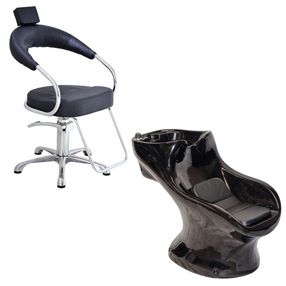 Cadeira Poltrona Hidraulica Futurama (Base Aluminio Escovado) Preta + Star Italiano Bullon Preto