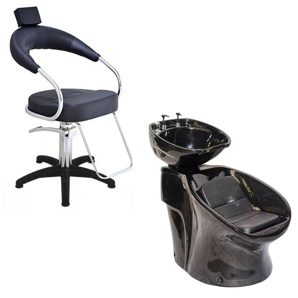 Cadeira Poltrona Hidraulica Futurama (Base Nylon) + Lavatório Neon Shampoo Bullon