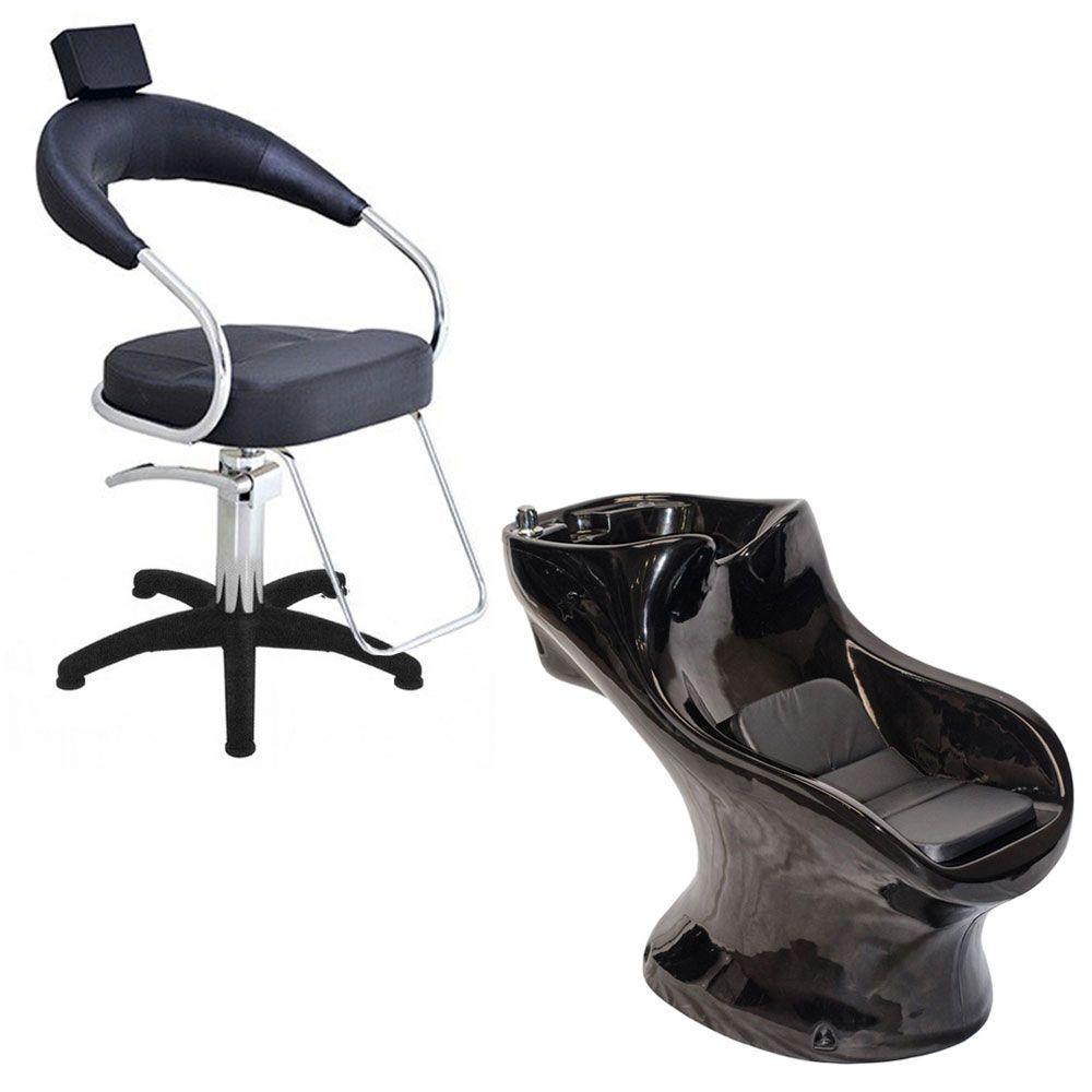 Cadeira Poltrona Hidraulica Futurama (Base Nylon) Preta + Star Italiano Bullon Preto
