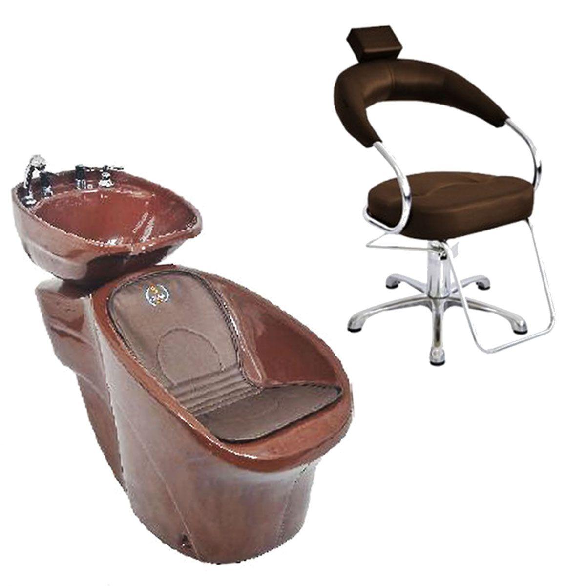 Cadeira Poltrona Hidraulica Futurama Cafe Base Aluminio Escovado + Lavatorio Reclinável Aries Chic L50 Marrom/Branco