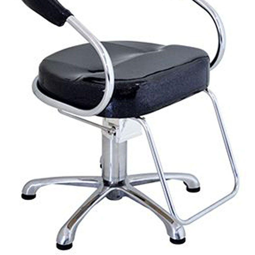 Cadeira Poltrona Hidráulica Futurama Glitter Base Alumínio Escovado - Preta