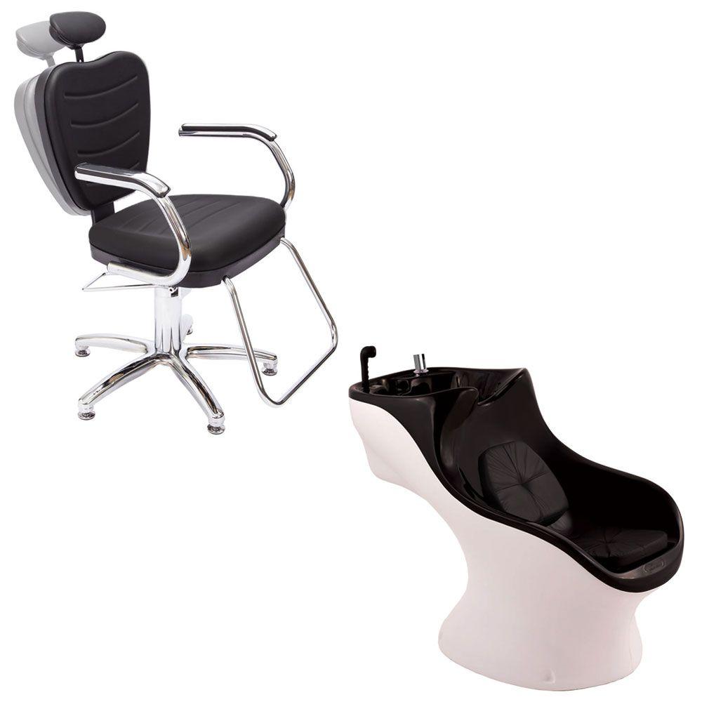 Cadeira Top Reclinável Dompel  Preto + Lavatório Italiano Aries Corpo Branco/Topo Preto