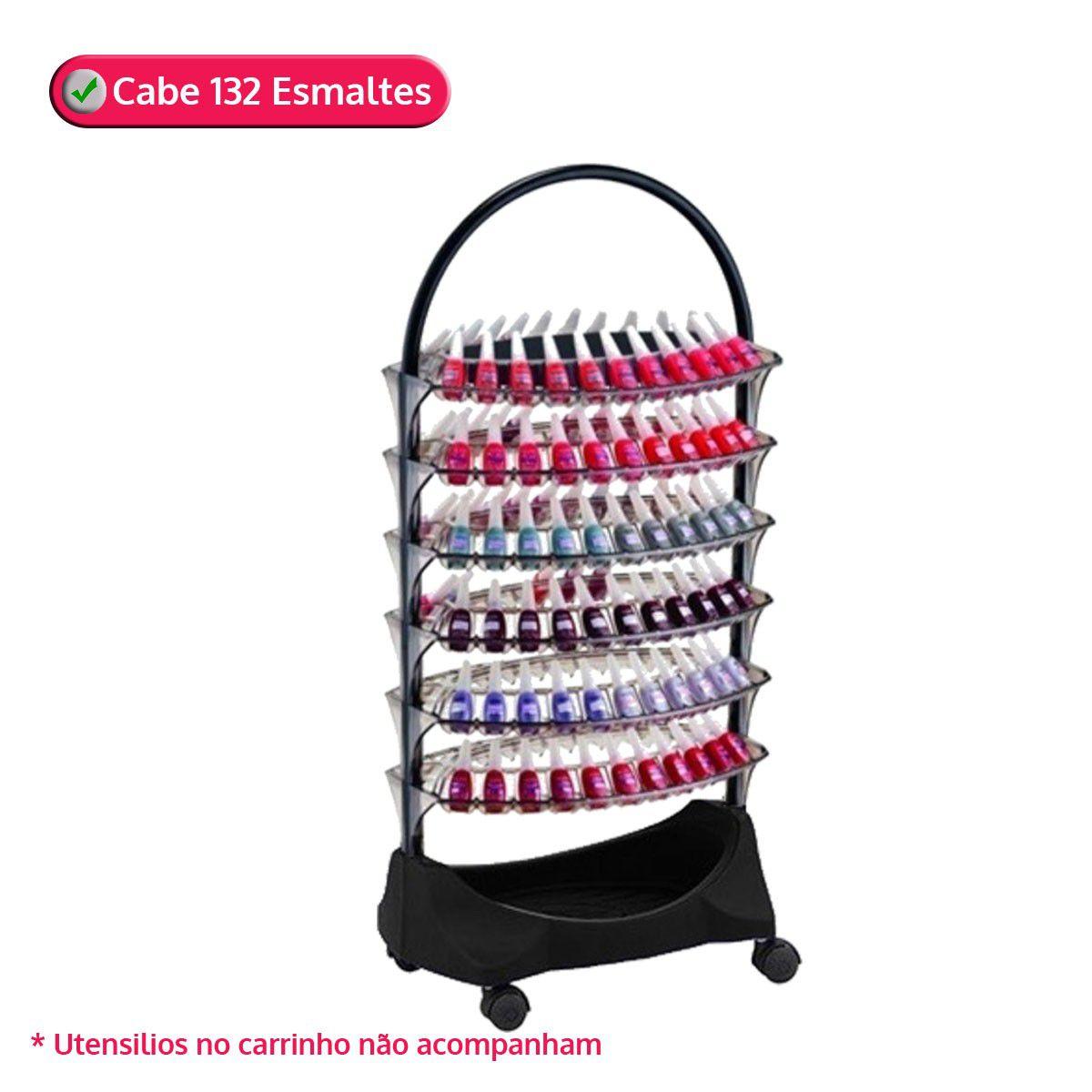 Carrinho Smaltbell CLASSIC OVAL Preto 6 Bandejas (132 Esmaltes) - Dompel