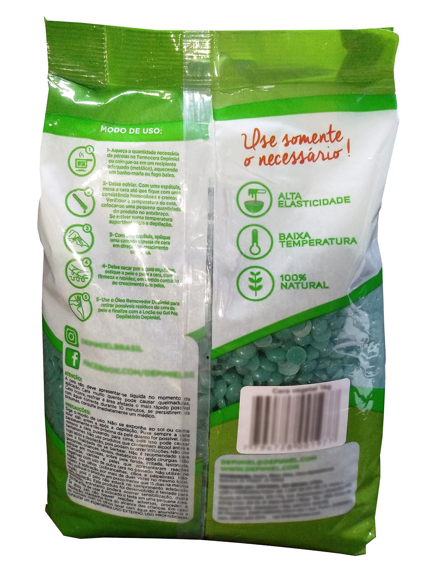 Cera Depilátoria em Pérolas 1Kg - Vegetal Aloe e Vera - Depimiel - 3 Unidades