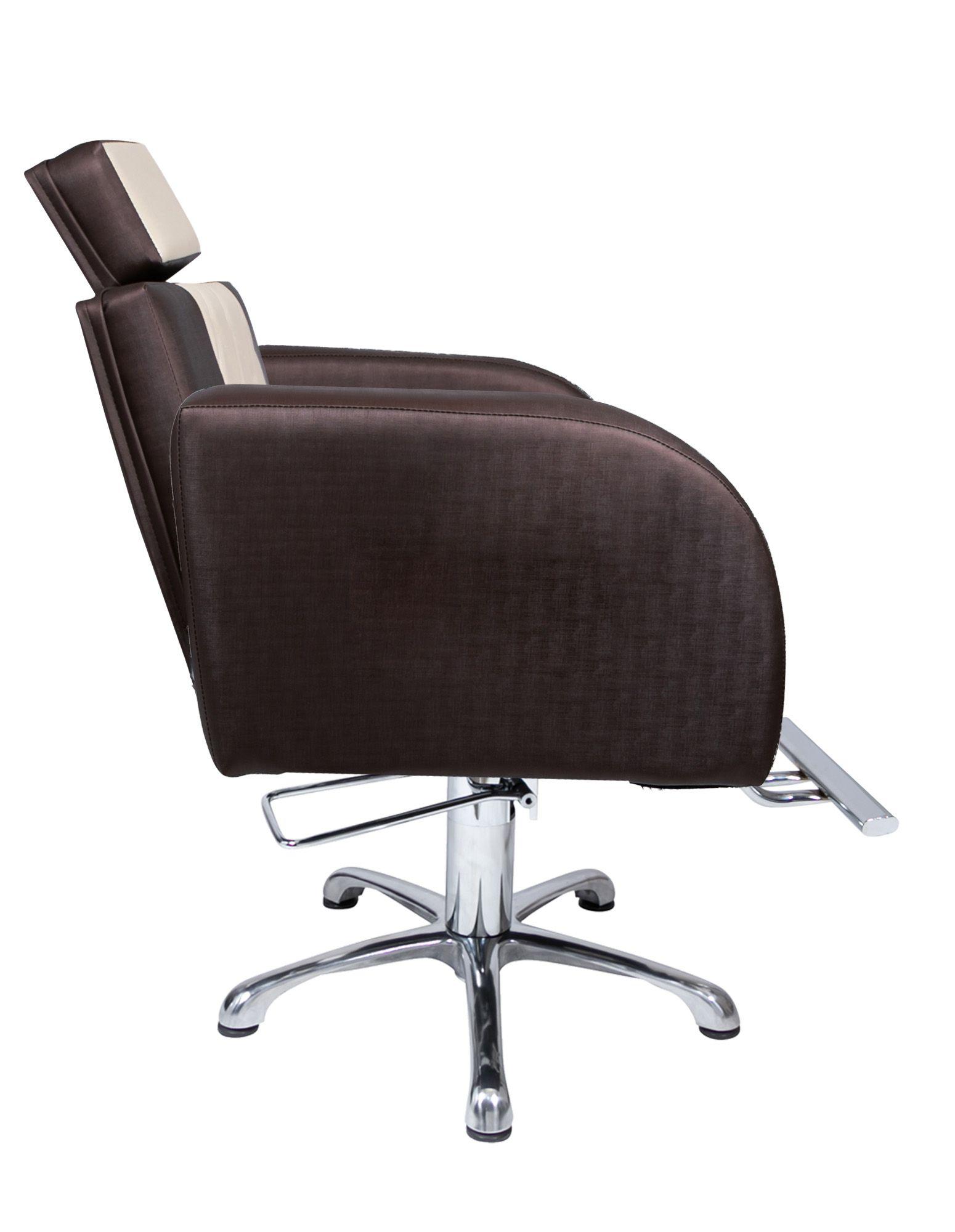 Lavatório Stilo Marrom/Bco - Cuba de FIBRA Branca + Cadeira Stilo Fixa