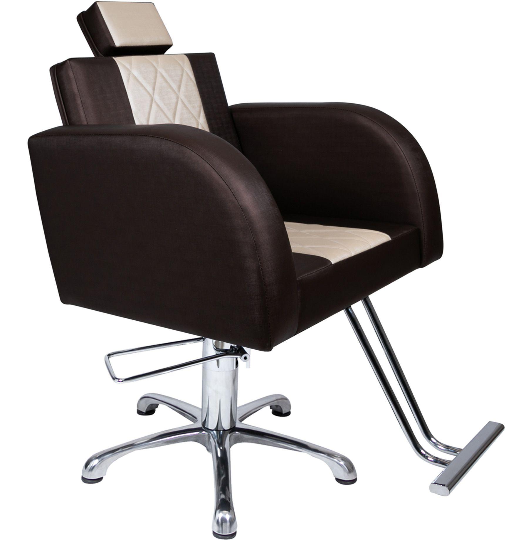 Lavatório Stilo Marrom/Bco - Cuba de Louça + Cadeira Stilo Fixo