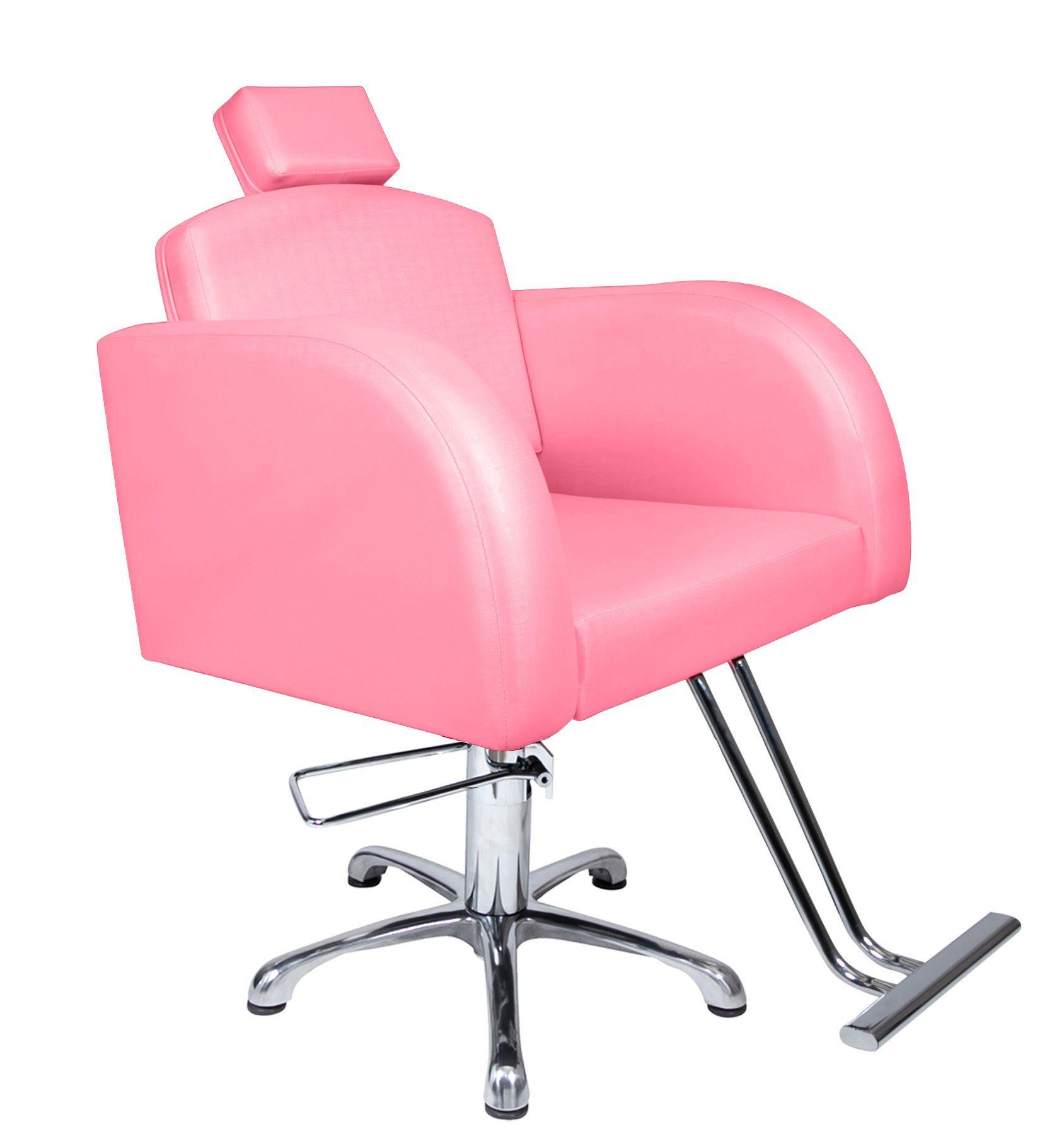 Poltrona Cadeira Hidráulica Destak Fixa Para Salão Rosa Factor