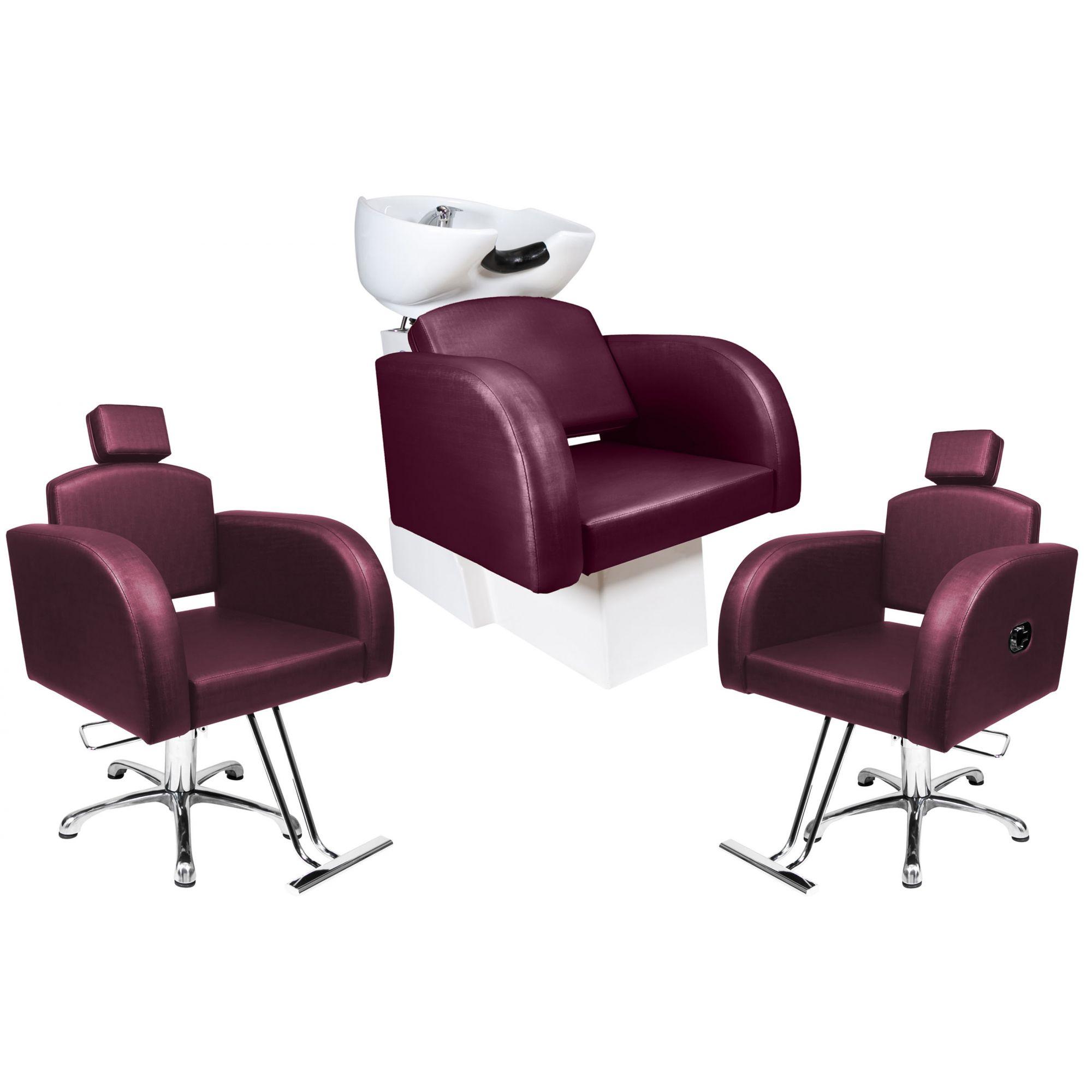 Destak Bordo - Lavatorio + Cadeira Reclinável + Cadeira Fixa