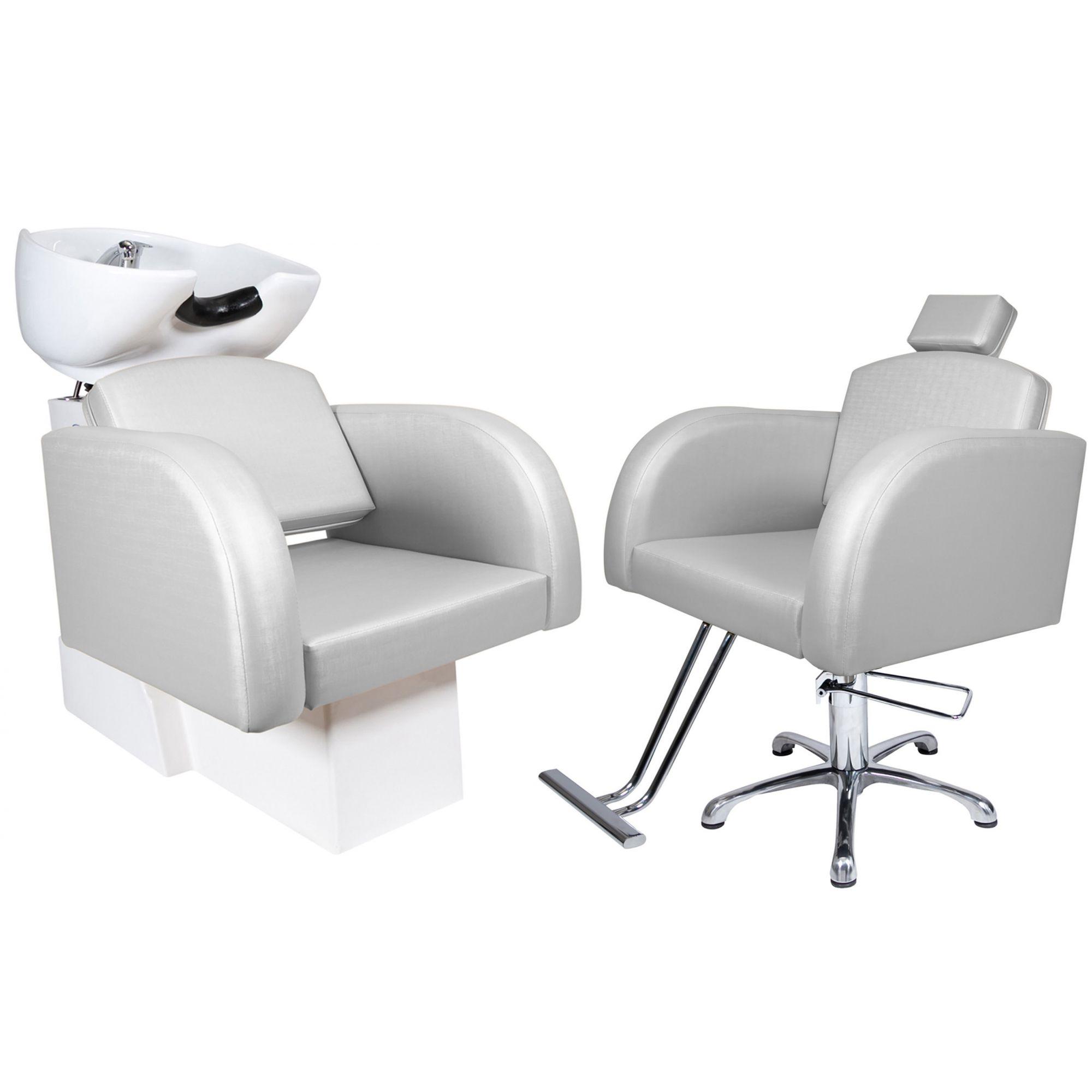 Destak Prata - Lavatorio + Cadeira Hidráulica Fixa