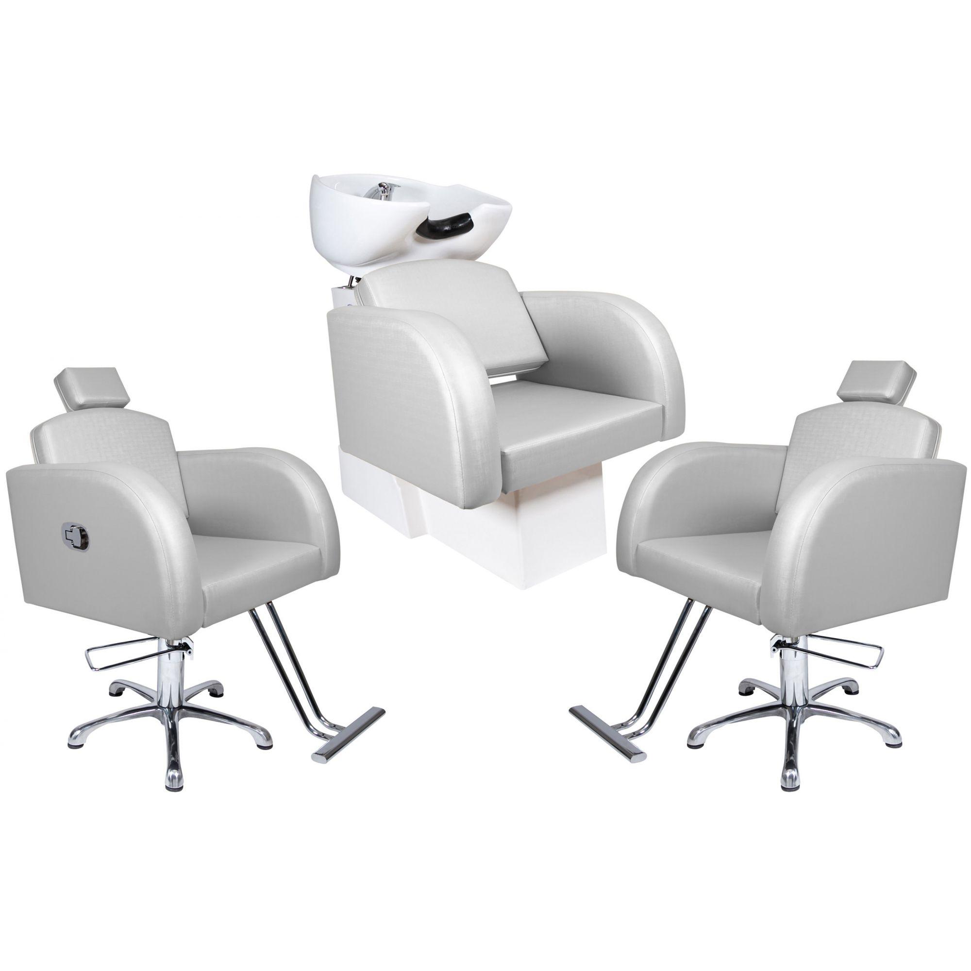 Destak Prata - Lavatorio + Cadeira Reclinável + Cadeira Fixa