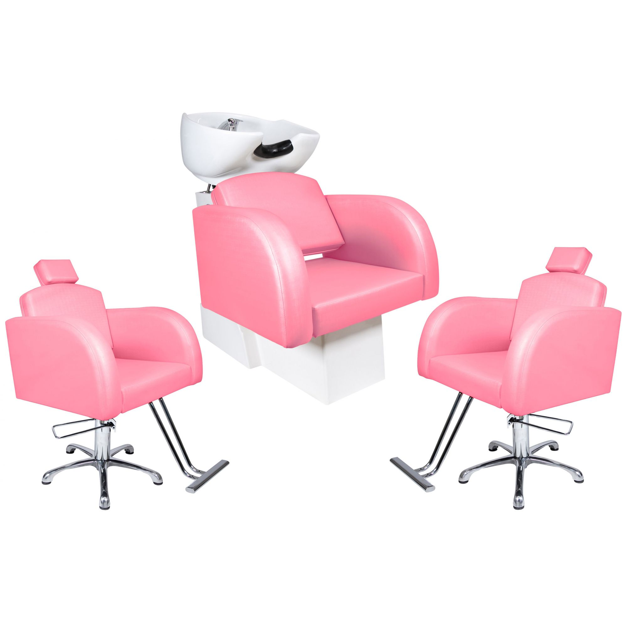 Destak Rosa - Lavatorio + 2 Cadeiras Fixas